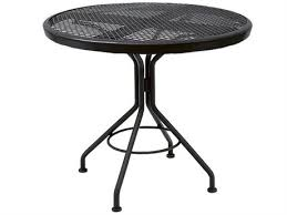 woodard mesh wrought iron 30 round dining table in textured black