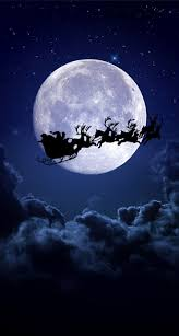 Christmas Night Moon Santa Christmas Wallpaper Iphone Hd