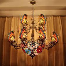 creative stained glass led pendant light american chandelier lamp living room pendant light bilayer erfly erfly pendant light