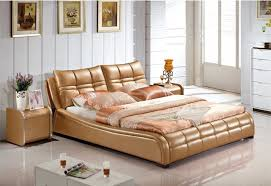 2018 Genuine Leather Bed Luxury Style Golden Simple Fasion Double
