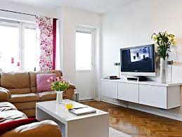 Modern Living Room For Small Spaces Small Modern Cozy Family Room Design Wooden Built In Cabinet Lime