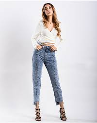 New Jeans Design For Girl 2019 2019 Ynzzu New Design Irregular Jeans Woman 2018 New High Waist Jeans Female Denim Pants Trousers Casual Women Plus Size Yb255 From Xiayuhe 43 71