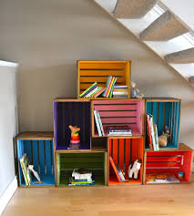 funny multicolored diy wood crate desaign ideas with heap accent under white stair on wooden floor close chalk wall paint suitable for child