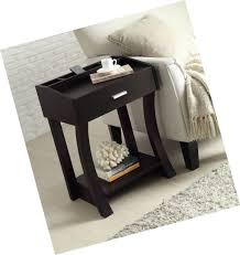 wooden chair side. Cappuccino Finish Wooden Chair Side End Table Shelf With Drawer