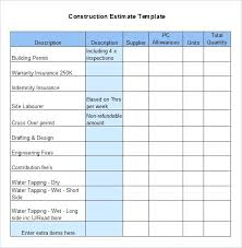 Roofing Estimate Template Free Form Building Quote Word Forms ...