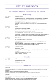 Resident Assistant Job Description Resume