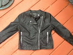 details about blank nyc black faux leather moto jacket size large fitted cutout design