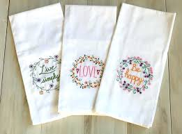 embroidered kitchen towels hand cupcake dish towel set