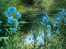 blossoms breathtaking rivers park lake views pond painting lakes gras garden sea grass riverbank art waterscape forest water tree blue coast poppies flowers