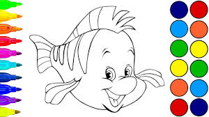 Small Picture The Little Mermaid Flounder Coloring book for children Learn
