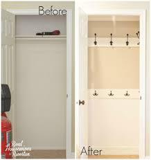 hall closet organization ideas and hall closet storage ideas hooks instead of hangers before and