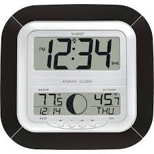 large atomic digital wall clock with indoor outdoor temperature