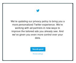 twitter mobile privacy policy update nudge