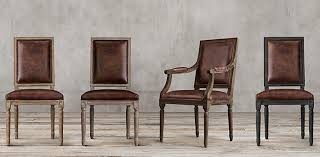 wood and leather chair. Vintage French Square Collection Wood And Leather Chair