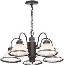 5 light hanging oil rubbed bronze chandelier with frosted ribbed glass shades
