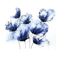 original art home decor navy blue flower wall art small painting  on navy blue flower wall art with original art home decor navy blue flower wall art small painting