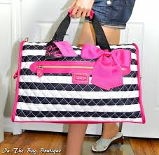 Betsey Johnson Weekender Quilted Stripe Satchel Travel Tote Bag ... & Betsey Johnson Weekender Quilted Stripe Satchel Travel Tote Bag NWT Adamdwight.com