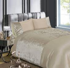 luxury crushed velvet champagne natural duvet quilt cover bedding set
