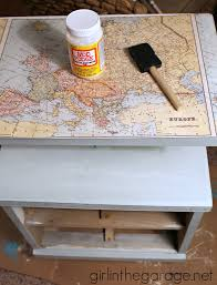 Mod Podge Kitchen Table Decoupaged Map Table Themed Furniture Makeover Day Girl In The