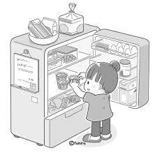 冷蔵庫をあける子どもつまみぐいイラストモノクロ 子供と動物の