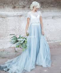 Light Blue And White Dress Discount Light Blue Wedding Dresses White Lace Sheer Short Sleeve Tulle A Line Two Toned Bridal Wedding Gowns 2020 Wedding Dresses Aline Wedding