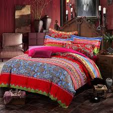 com lelva boho style bedding set bohemian ethnic style bedding set boho duvet cover set camel pattern bedding set king 4pcs 1 king home