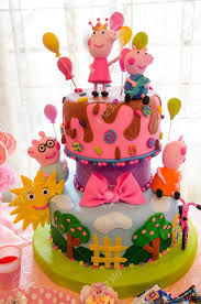 Childrens Party Decoration Cake With Thematic Of Peppa Pig Stock