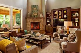 corner fireplace with built in bookshelves living room transitional with a cabinet plasma tv greek key