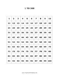 1 To 300 Number Chart Pdf 1 To 300 Numbers Chart