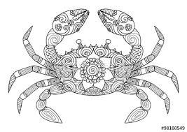 Small Picture Hand drawn zentangle crab for coloring book for adult tattoo