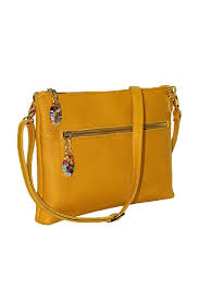 terrida murano collection leather shoulder bag small purse in yellow