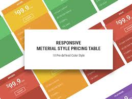 Pricing Table Templates Material Free Responsive Pricing Table Template Uicookies