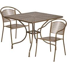 35 5 square gold indoor outdoor steel patio table set with 2 round back chairs