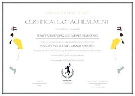 Volleyball Award Template Most Improved Certificate