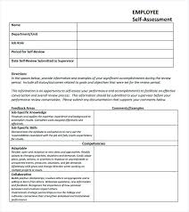 Job Evaluation Template Self Assessment Example Ideal Contemporary Portrayal Performance 8 ...
