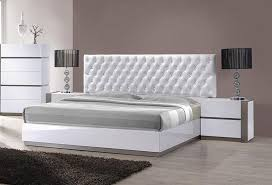 Modern Platform Beds, Master Bedroom Furniture. Sophisticated Leather High  End Platform Bed with Tufted Headboard