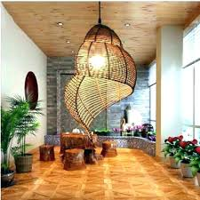 wicker chandelier mini shades