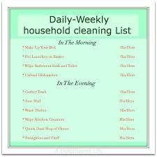 Weekly Household Chore List Household Chore Schedule