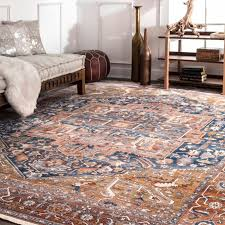 nuloom rust blue traditional medallion bordered area rug 9 x 12 in area