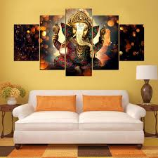 wall art canvas painting elephant god style pictures for living room 5 panel lord ganesha cuadros on wall art canvas for living room with wall art canvas painting elephant god style pictures for living room