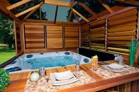 This gazebo is built to fit snugly around this hot tub, creating a cozy and