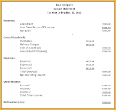 Vertical Income Statement Format Net Template Operating Example