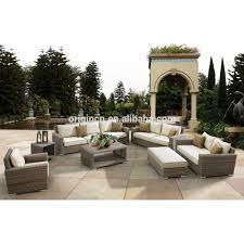 Rattan Living Room Furniture Luxury Round Rattan Large Garden Use 8 Seater Sofa Set And Wicker