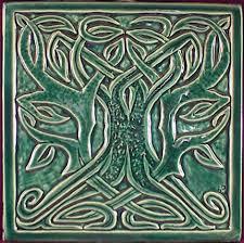 Decorative Relief Tiles Decorative relief carved Celtic tree ceramic art tile Celtic tree 5