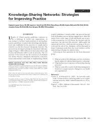 PDF) Knowledge-Sharing Networks: Strategies for Improving Practice | Tazim  Virani - Academia.edu