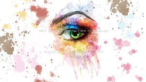 an eye for paint woman watercolor splatter