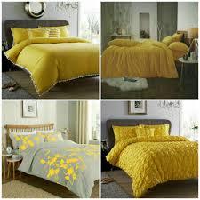 ochre duvet cover yellow mustard grey