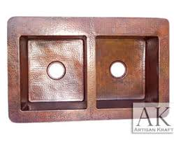 hammered copper kitchen sink: terra double well farmhouse hammered copper sink