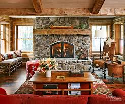 The best rustic fireplace mantels begin with a backdrop brimming with  primitive character, and what could be more basic and backwoods than  fieldstone?