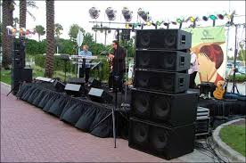 concert stage speakers. stage and pa speaker sound system with digital mixer console rental in phoenix scottsdale az concert speakers